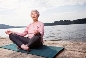 Elder doing yoga