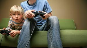 Children with video games